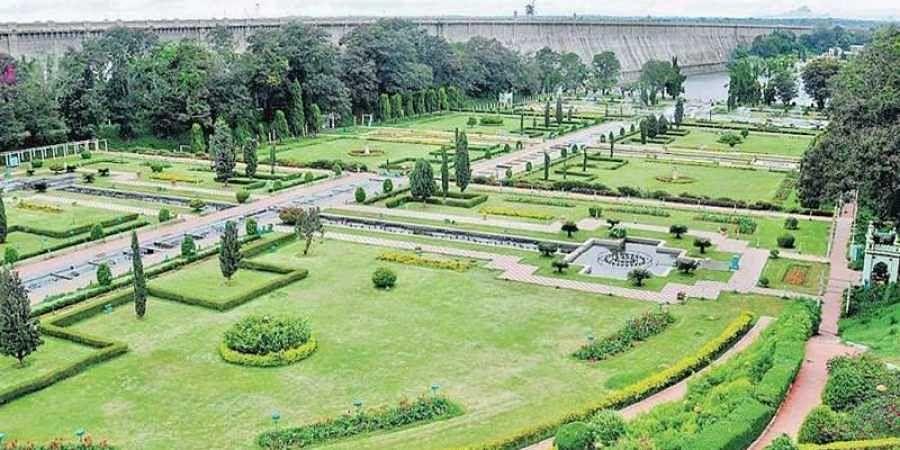 A view of the Brindavan Gardens near KRS dam in Mandya district