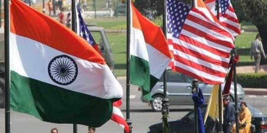 Image of Indian and US national flags used for representational purpose