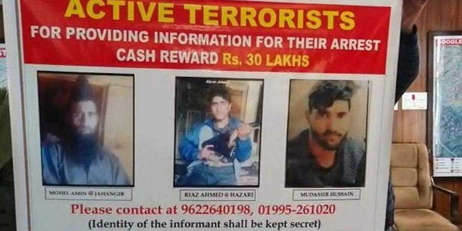 J-K Police announces Rs 30 lakh reward on 3 Hizb terrorists