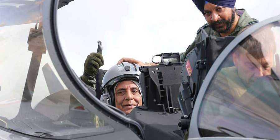 Rajnath Singh takes off in Rafale