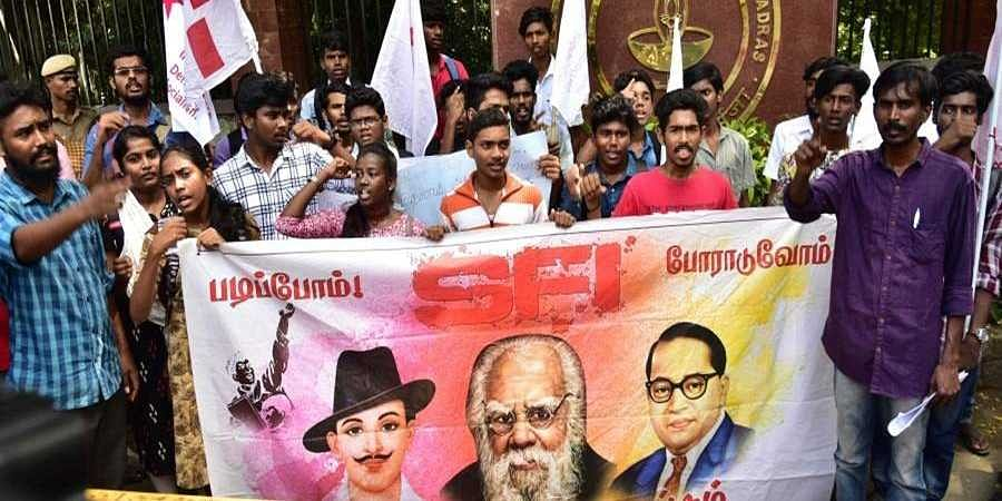 Members of SFI protest demanding action on the faculty who where accused by Fathima Latif a student of Cheneai IIT on Thursday in Chennai.