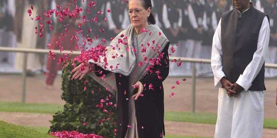 Congress President Sonia Gandhi pays floral tribute to India's first prime minister Jawaharlal Nehru.