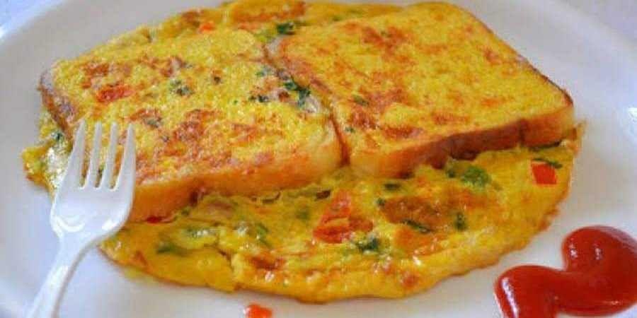 Eggless bread omelette