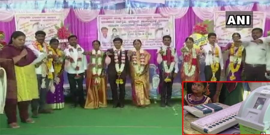 EC demonstrated the use of EVM & VVPAT, at a mass marriage function in Koppal