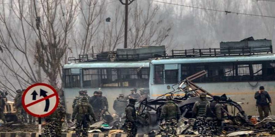 Pulwama suicide bomb attack site.