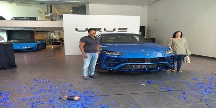 Puneeth Rajkumar family with New lamborghini urus car
