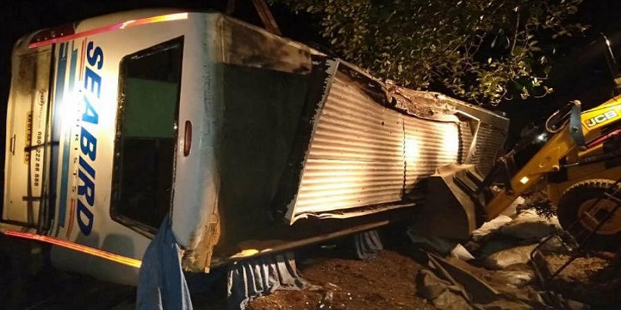 Three passengers dead in private bus accident near Shimoga