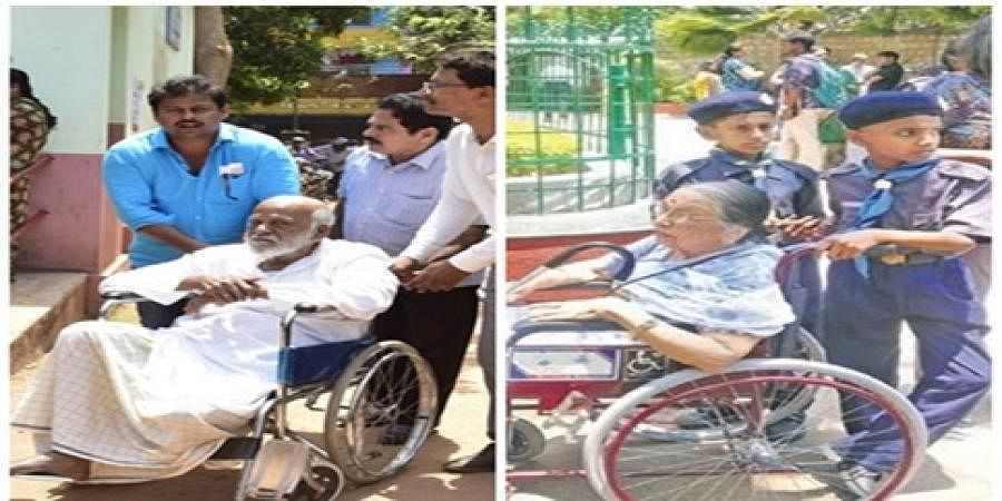Students assist an elderly voter at a polling booth in Shivajinagar