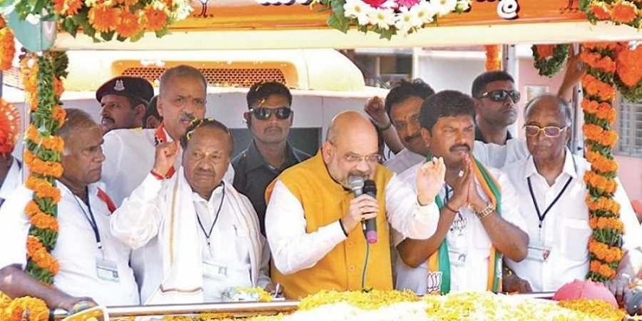 Amit Shah stirs up Bhadravati, seeks votes for Raghavendra