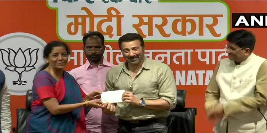 Actor Sunny Deol joins Bharatiya Janata Party in presence of Union Ministers Piyush Goyal and Nirmala Sitharaman