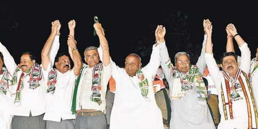 Leaders of the Congress-Janata Dal(Secular) coalition — from H D Deve Gowda to Siddaramaiah to Krishna Byre Gowda — were seen trying to replicate the massive show of unity of non-NDA parties that had hit national headlines during last year's oath-taking c