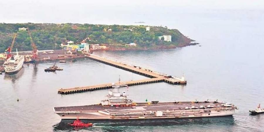 French aircraft carrier FNS Charles de Gaulle entering Goa harbour
