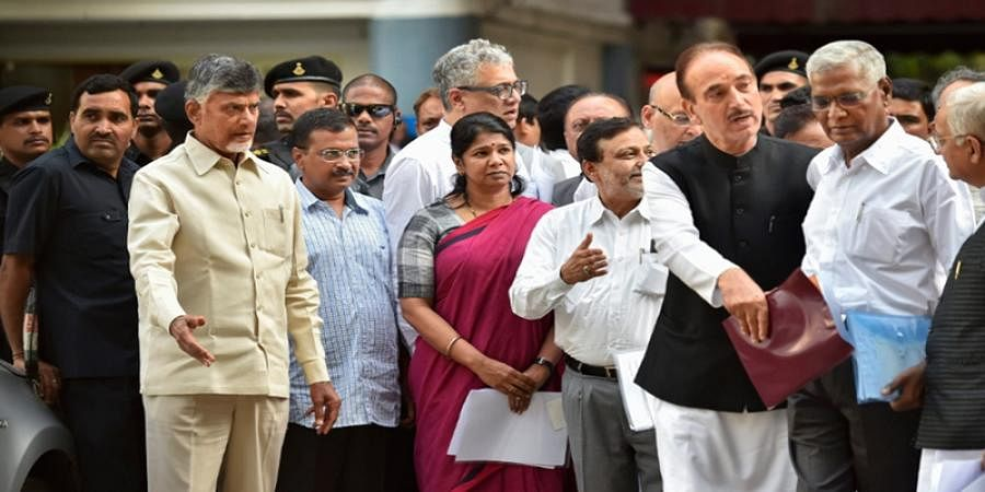 Opposition leaders meet EC officials, demand verification of VVPAT slips before counting of votes