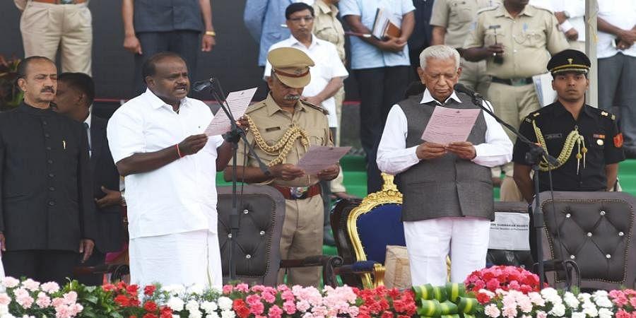 H D Kumaraswamy took oath as CM in front of Vidhana Saudha last year