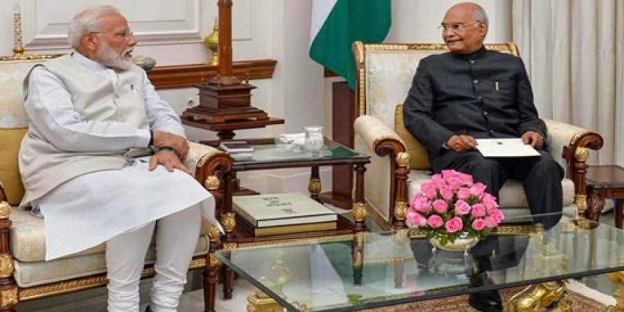 PM Narendra Modi with President Ram Nath Kovind at Rashtrapati Bhavan in New Delhi on 24 May 2019. The Prime Minister tendered his resignation along with the Union Council of Ministers.