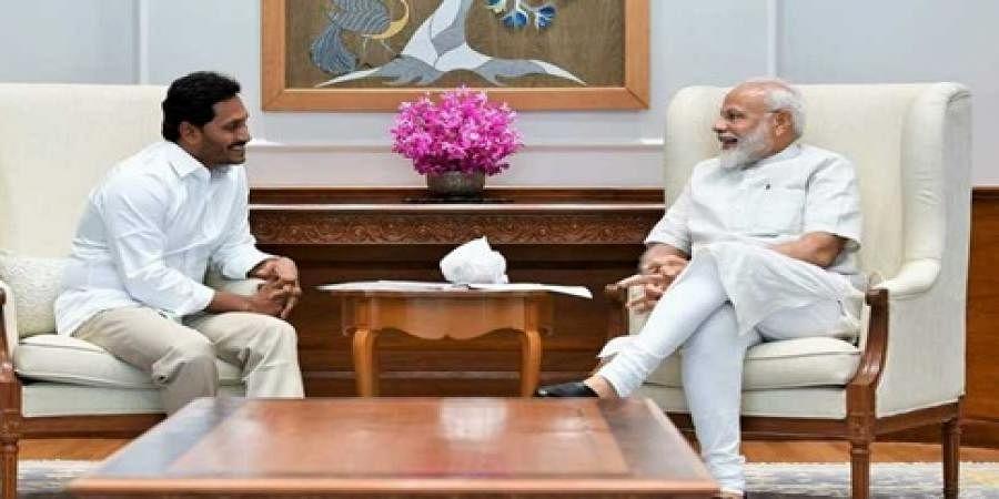 AP CM designate YS Jagan Mohan Reddy met Prime Minister Narendra Modi along with party MPs and chief secretary LV Subrahmanyam in New Delhi.
