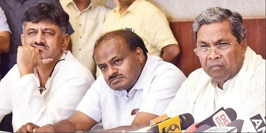 D K Shivakumar,  H D Kumaraswamy and  Siddaramaiah