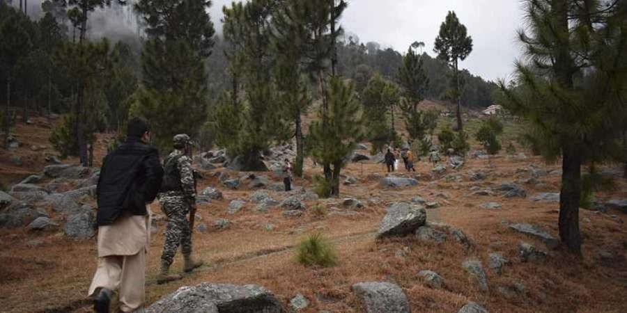 Pakistani reporters and troops visit the site of an Indian airstrike in Jaba, near Balakot,