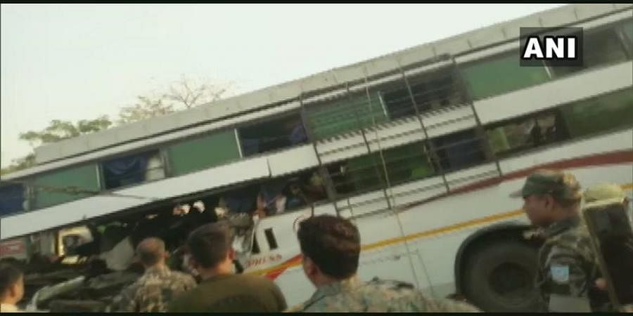 Bus Rams Into Truck