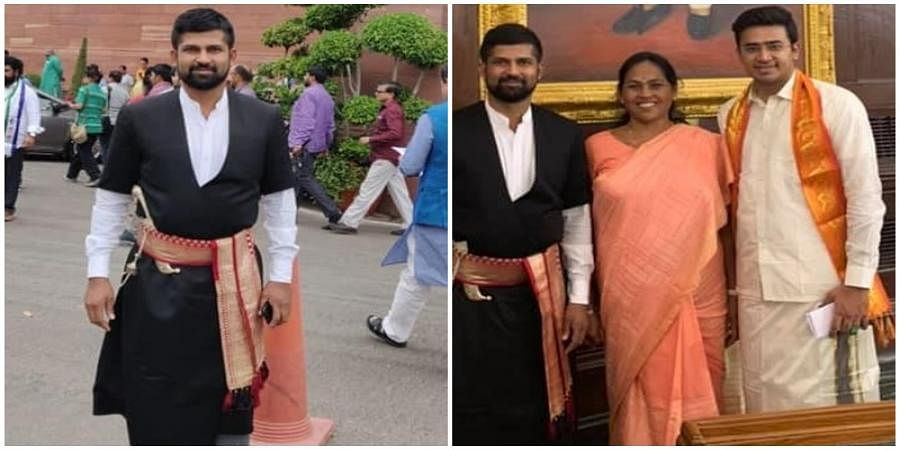 Tejaswi Surya and Pratap Simha with Shobha Karandlaje