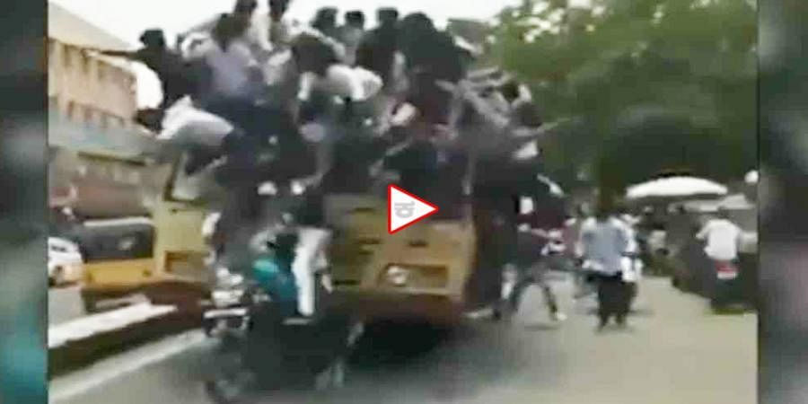 Bus Day Celebrations Went Wrong in Chennai, Group of students falls off bus roof