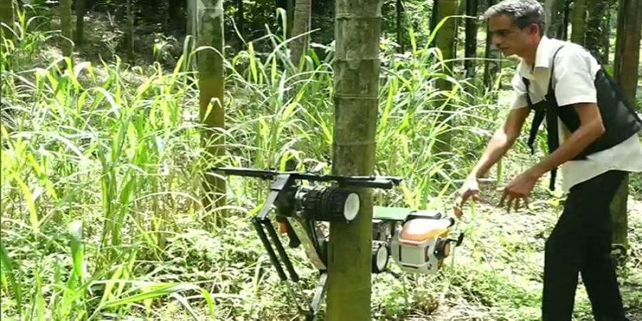 Farmer develops machine to climb arecanut trees