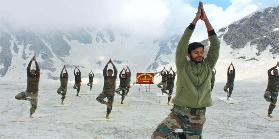Soldiers do yoga all across the country