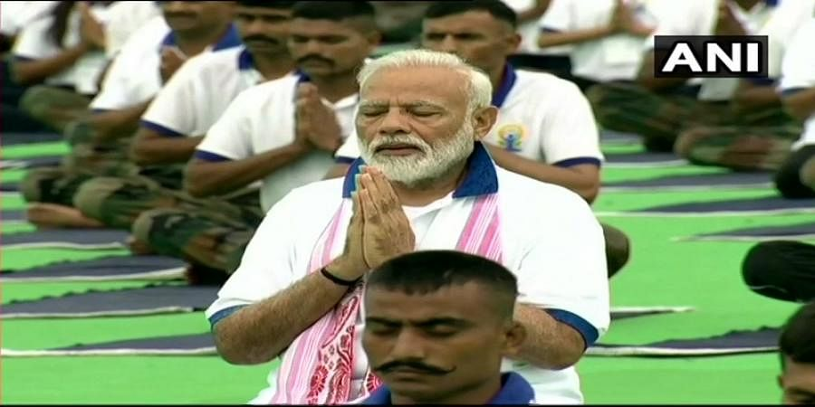 PM Narendra Modi doing Yoga in Ranchi