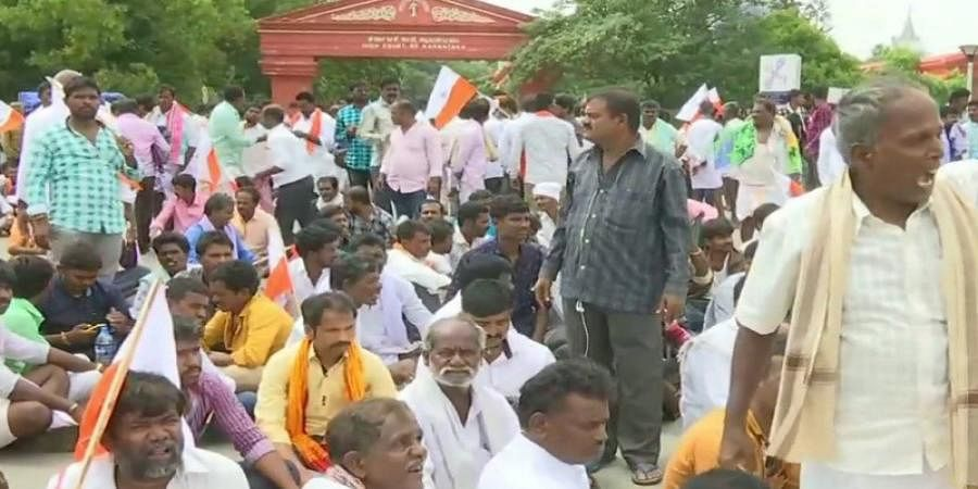Valmiki Community demands increase in reservation, holds protest at Vidhana Soudha