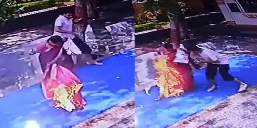 Hubballi woman dies after setting fire to saree at the temple