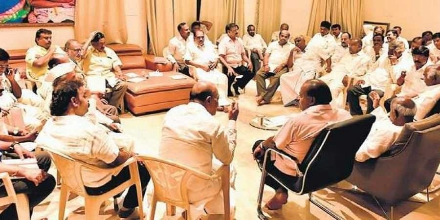 JDS legislators during the meeting at the Chief Minister's residence