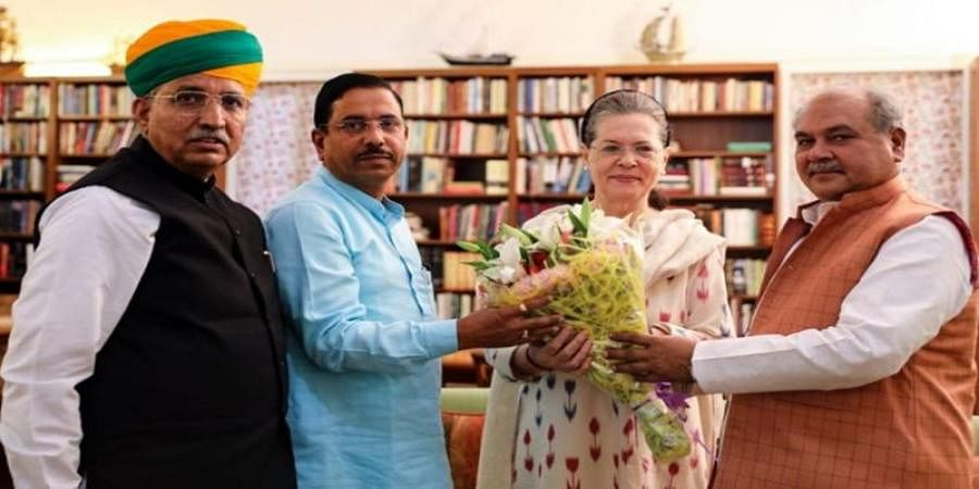 BJP Minister With Sonia Gandhi