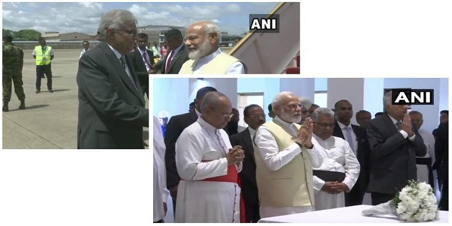 PM Narendra Modi welcomed by Sri Lanka PM Ranil Vikramasinghe