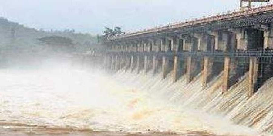 The Tunga dam at Gajanur near Shivamogga