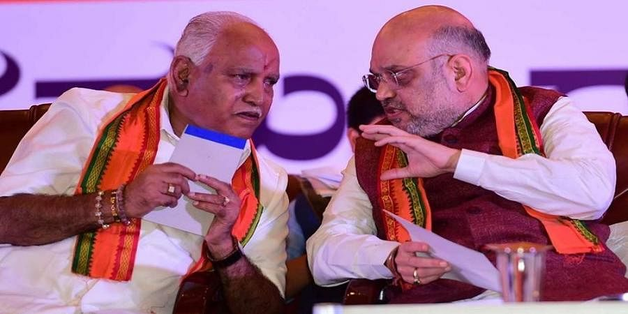Amit Shah Holds Consultations with BJP Leaders after Party Wins Trust Vote in Karnataka Assembly