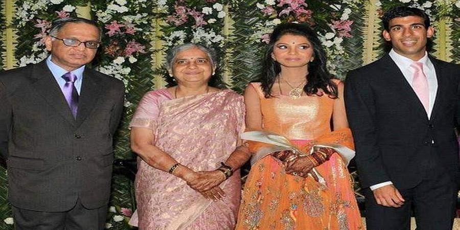 Narayana Murthy and Sudha Murthy at their daughter Akshata Murthy and Rishi Sunak's wedding. (Photo | File, PTI)