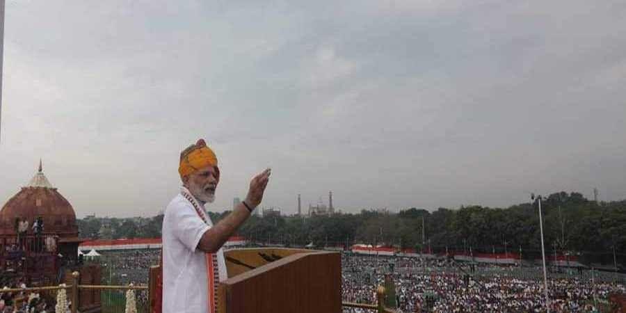Prime Minister Narendra Modi addresses the nation on the 73rd Independence Day celebration frNew Delhi on Thursday.