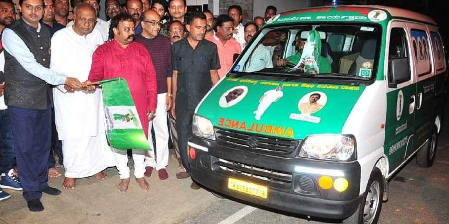 HD Devegowda Flags Kumara Raksha Ambulance