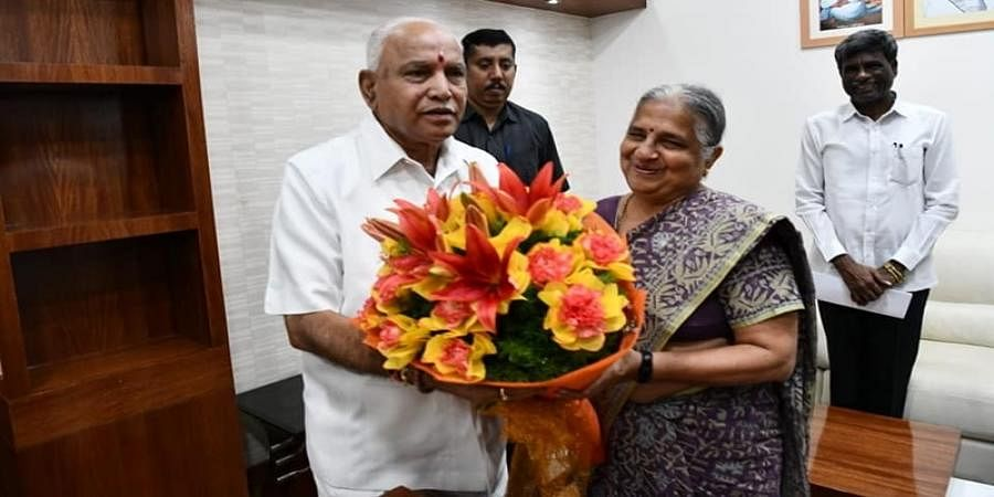CM B S Yedyurappa welcomed Infosys foundation president Sudha Murty