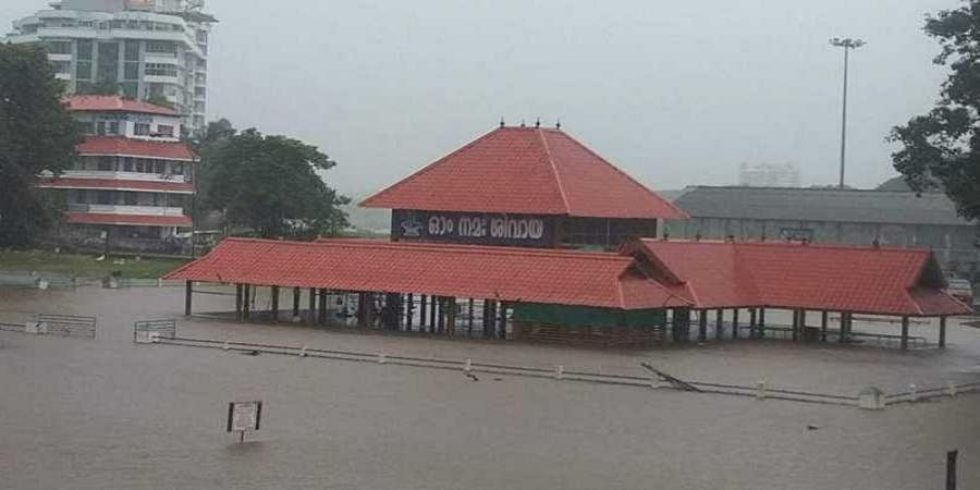 Aluva Shiva temple submerged after rain battered Kochi district.