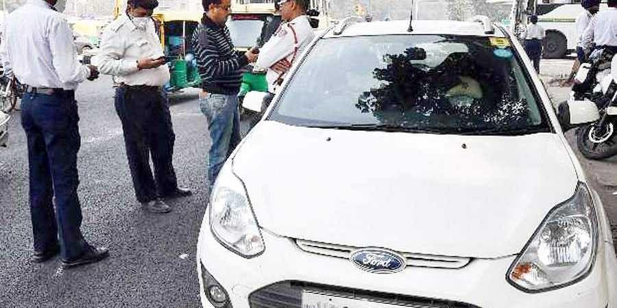 traffic cop stops car