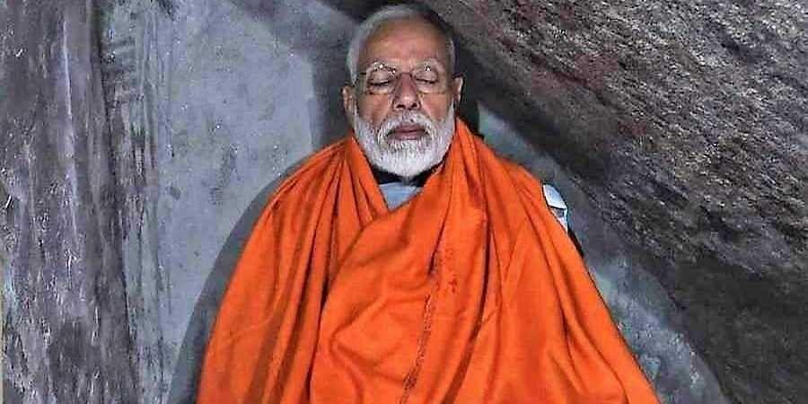 PM Narendra Modi meditating in the Kedarnath cave.