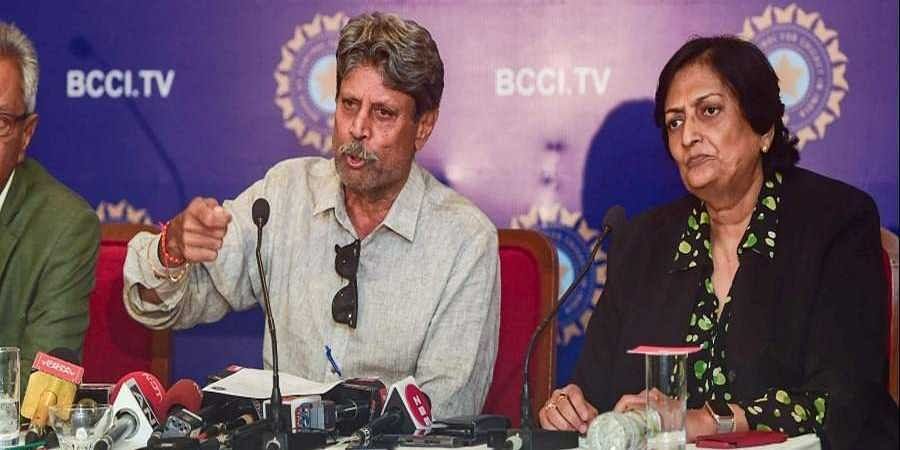 The three-members of Cricket Advisory Committee CAC Kapil Dev Anshuman Gaekwad and Shantha Rangaswamy during a press conference in Mumbai.
