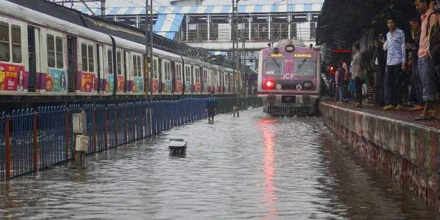 A view of waterlogged railway tracks following heavy rains in Thane.