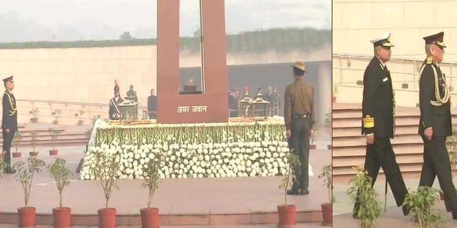 Army Chief General Manoj Naravane pays tribute at National War Memorial in Delhi