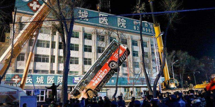 WATCH | Six killed, four missing after huge sinkhole swallows bus in China