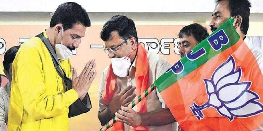 Rajesh Gowda during joining into BJP