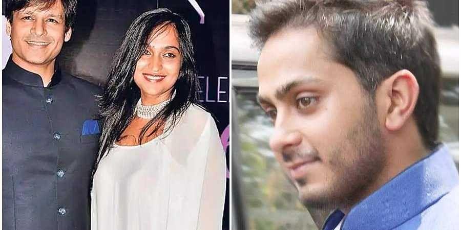 Vivek Oberoi, Priyanka Alva Oberoi and Aditya Alva(File photo)