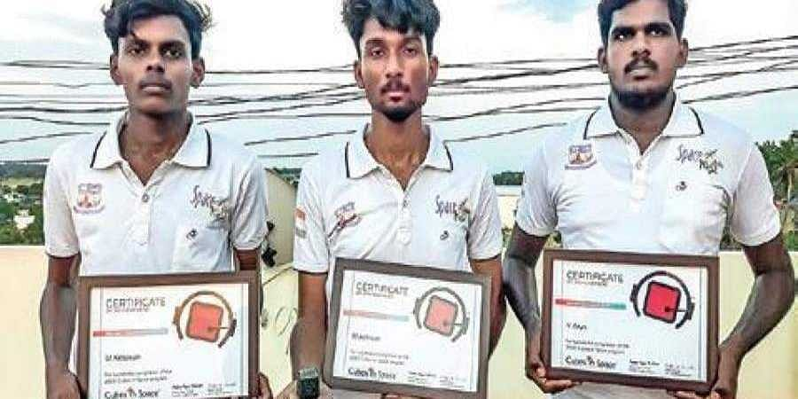 BSc Physics students M Adnaan and V Arun joined hands with their friend and engineering student M Kesavan to come up with the micro satellite