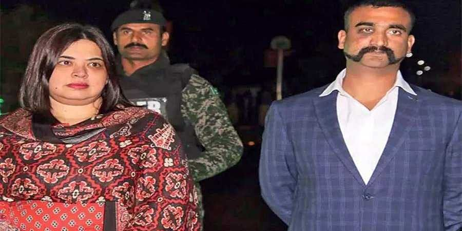Indian Air Force IAF pilot Wing Commander Abhinandan Varthaman as he is released by Pakistan authorities at Wagah border on the Pakistani side.